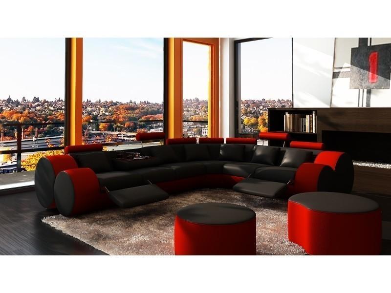 Canapé d'angle cuir noir et rouge + positions relax roma-