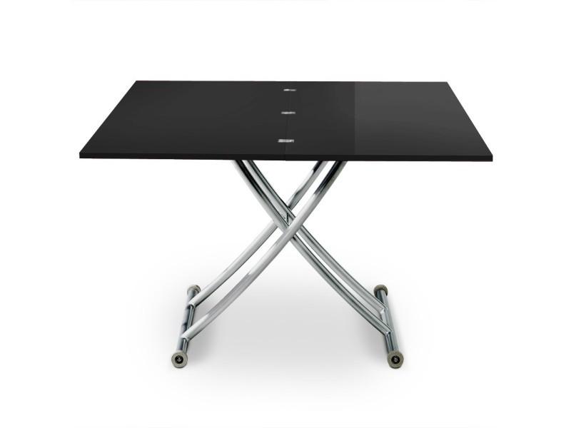 Table basse relevable philadelphia noir laqué