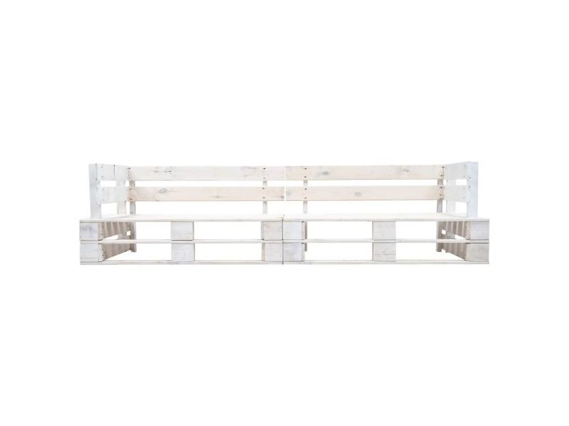 Vidaxl canapé palette à 2 places de jardin blanc bois 277383