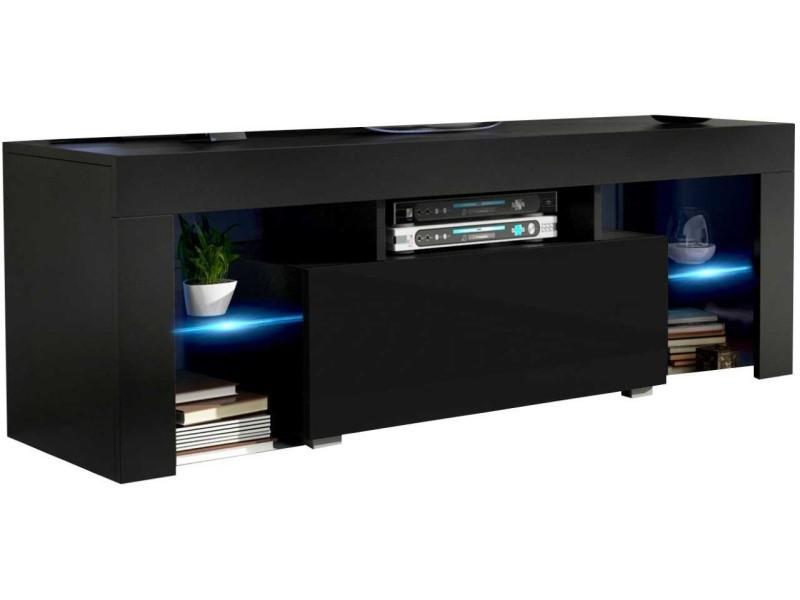 Meuble tv 130 cm noir mat et noir brillant led rgb