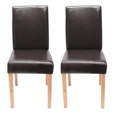 Lot de 2 chaises de salle à manger simili cuir marron pieds