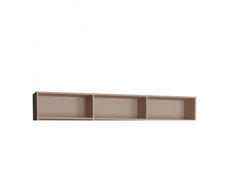 Surmeuble 3 niches de rangements pour lit escamotable horizontal 160 x 200 cm hauteur 36 cm finition taupe mat 20100888817