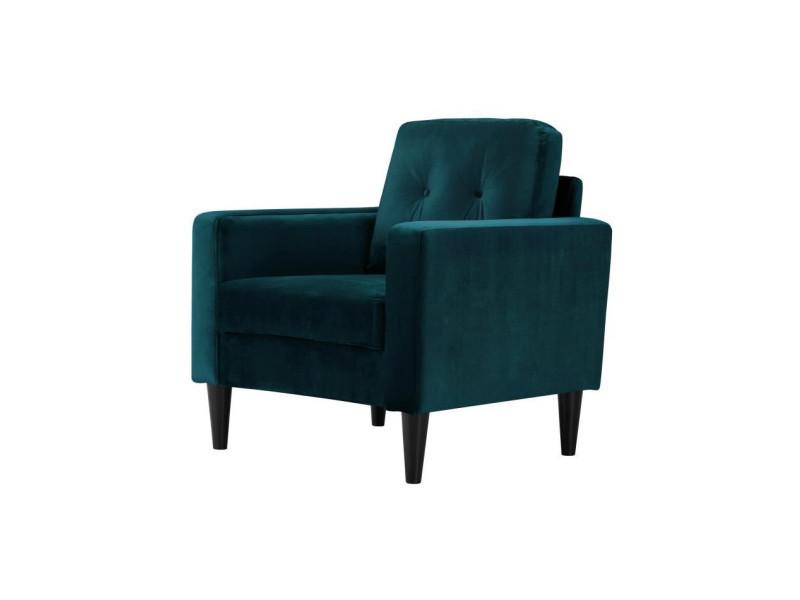 Ibra velvet fauteuil - bois eucalyptus massif - velours bleu canard - scandinave - l 80 x p 81 cm