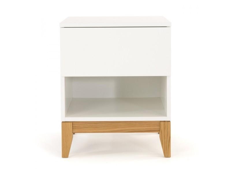 Blanco - table/chevet design scandinave 1 niche - couleur - blanc 123220008012