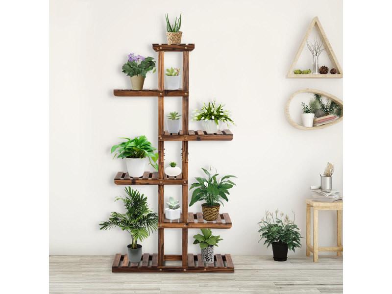 Giantex etagère à fleurs en bois porte pot de plantes avec 6 niveaux d'etages140,5 x 25 x 75 cm
