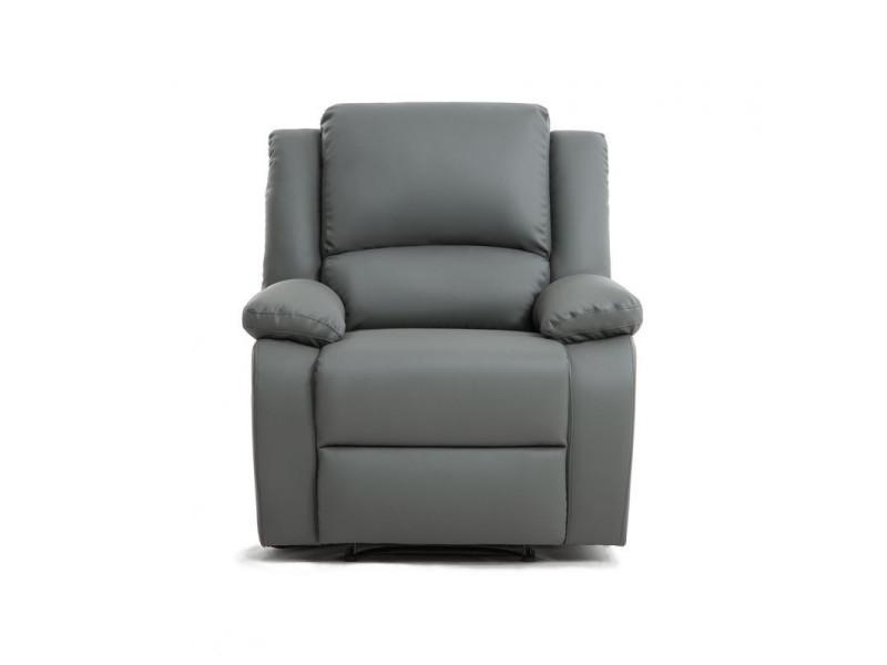 Fauteuil relaxation 1 place simili cuir detente - couleur - gris 9121EGRISPU1