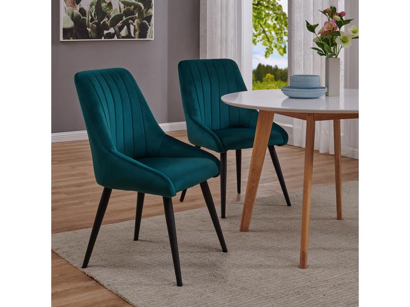 Duhome 2x chaise salle à manger en velours bleu cyan ...
