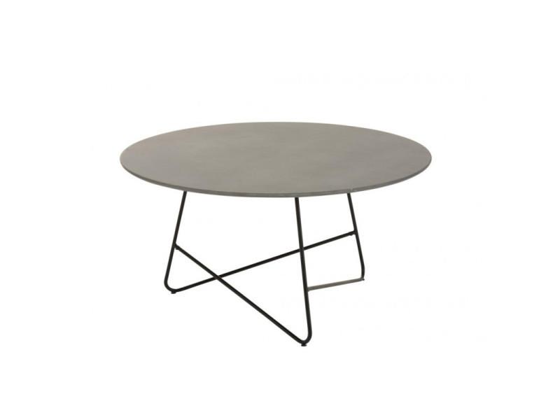 Table basse valou ronde ciment/acier inoxydable gris/noir 1739