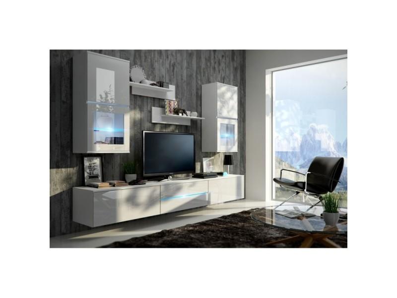 Meuble de salon, meuble tv complet suspendu bilbao blanc + led. Meuble design et tendance avec façades brillantes high gloss