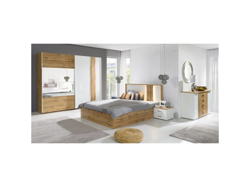 Lit coffre adulte design wood avec deux chevets. - Vente de Lit adulte -  Conforama bc159a1069eb