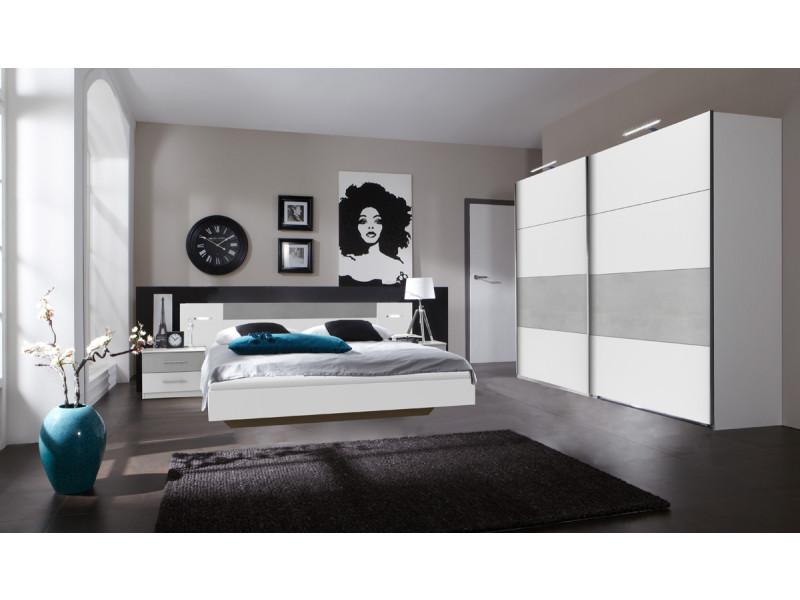 Ensemble chambre adulte lit futon avec éclairage en blanc, rechampis teinte béton gris clair - 180 x 200 cm -pegane-
