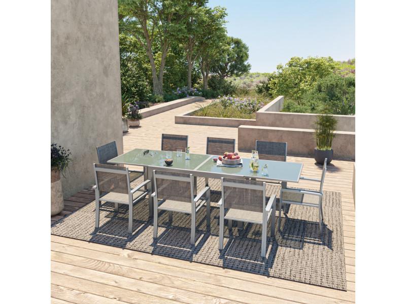 Table de jardin extensible aluminium 140/280cm + 8 fauteuils textilène argentée - hara xl