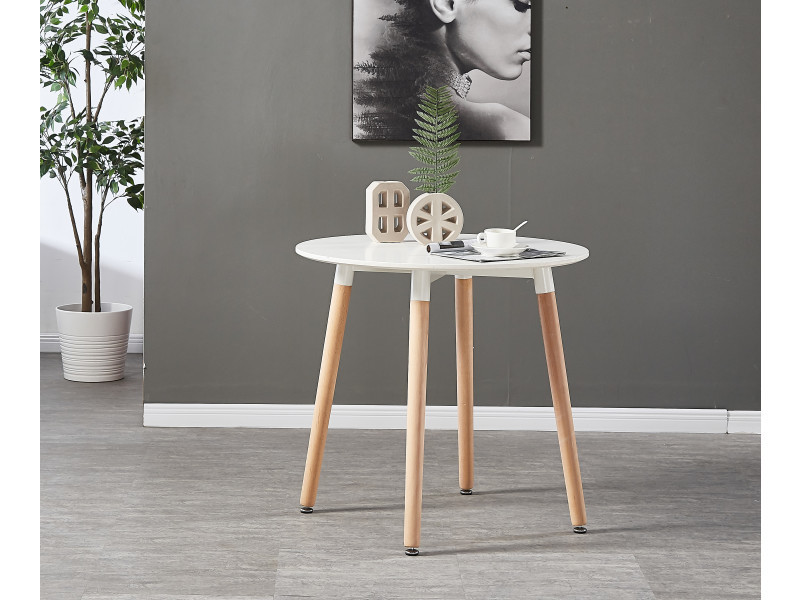 Table blanche ronde 4 chaises scandinaves grises - Conforama chaises salle a manger ...