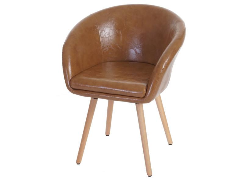 6x chaise de salle à manger malmö t633, fauteuil, design rétro des années 50 ~ similicuir, aspect daim