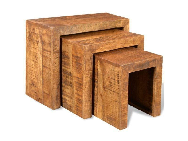 Vidaxl table gigogne 3 pcs bois massif de manguier 241130
