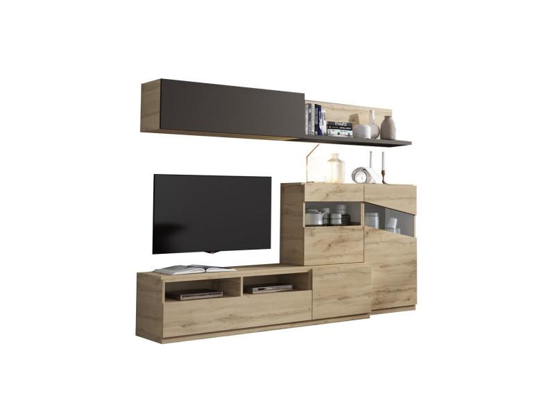 Composition meuble tv chêne blond/laque marron foncé - camelia - l 240 x l 45 x h 190 - neuf