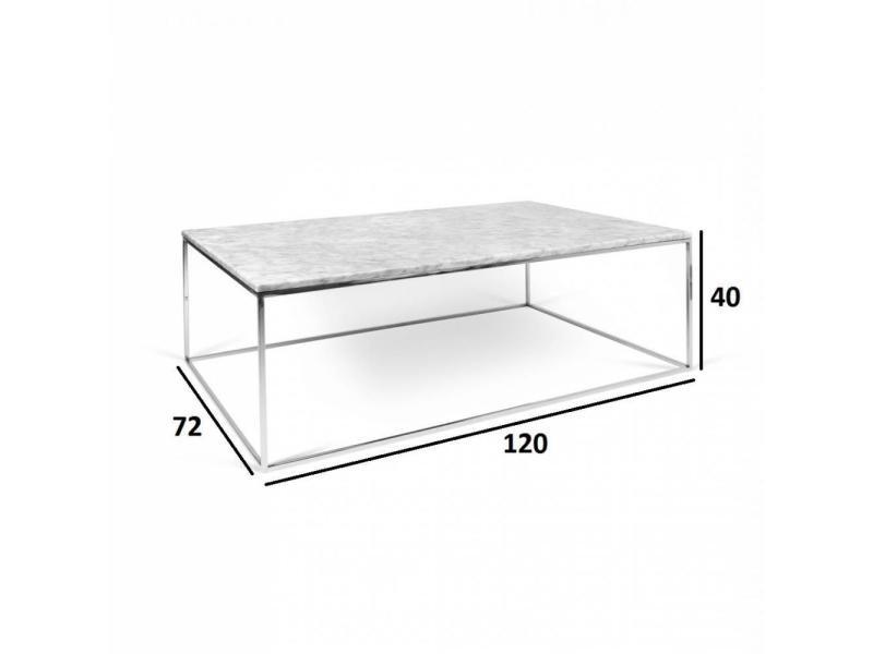 Table Basse Rectangulaire Gleam 120 Plateau En Marbre Blanc