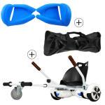 Accessoire hoverboard 6,5 pouces :  pack essentiel 3 en 1 : hoverkart blanc +  coque/housse silicone bleu +  sac de transport