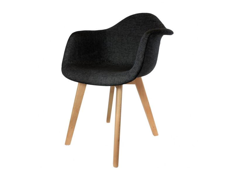 Fauteuil scandinave - 60.50 cm x 32 cm x 86 cm - polyester et hêtre - noir
