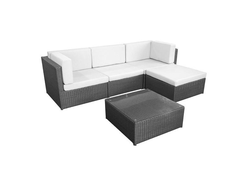 salon de jardin miami en r sine tress e 4 places. Black Bedroom Furniture Sets. Home Design Ideas