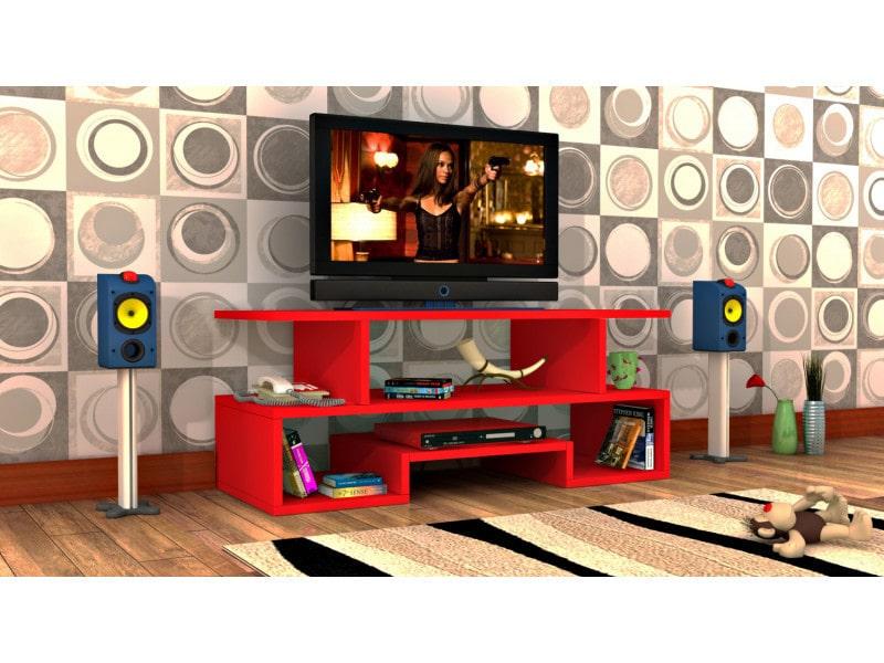 Meuble tv design twist3 rouge