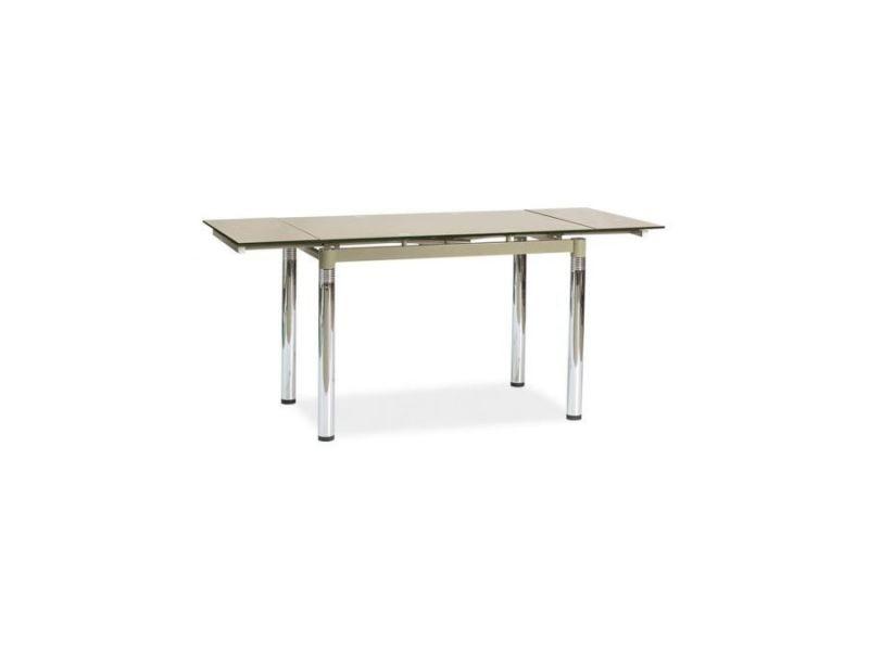 Kosxe - table extensible salle à manger/salon - 110x74x75 cm - plateau en verre trempé - base en métal - beige