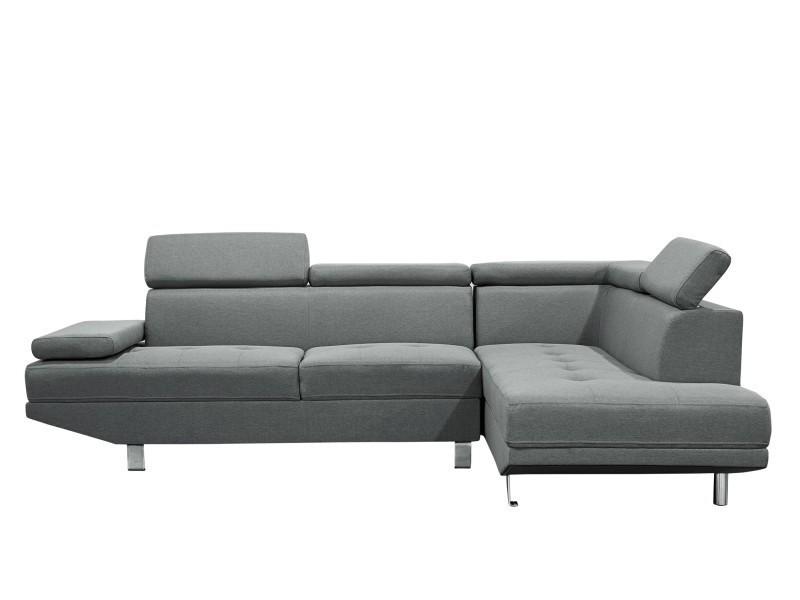 Canapé d'angle design droit tissu gris tiago-