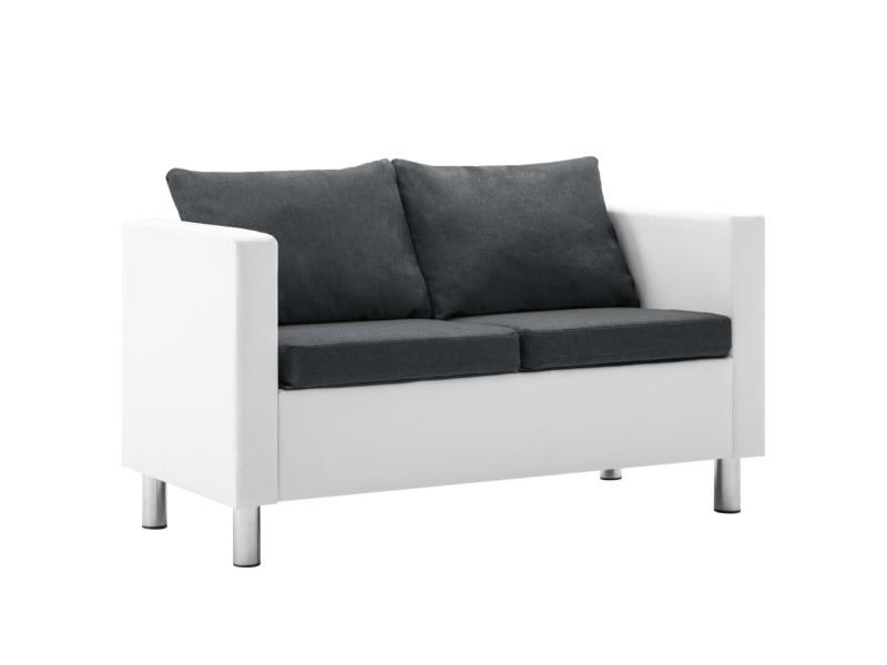 Admirable meubles selection phnom penh canapé à 2 places faux cuir blanc et gris foncé