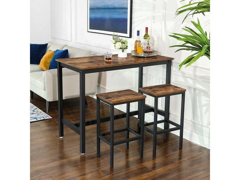 Lot Table Et Chaises De Bar Table Haute Avec 2 Tabourets De Style