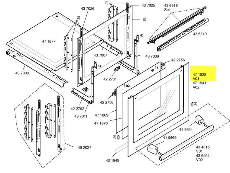 Vitre exterieure de porte inox reference : 00472196