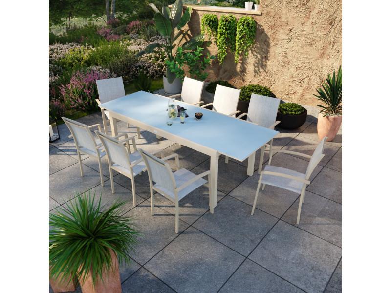 Table de jardin extensible aluminium champagne 180/240cm + 8 fauteuils empilables textilène - ania