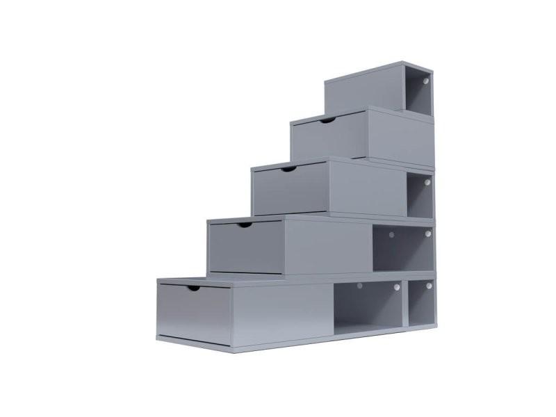 Escalier cube de rangement hauteur 125 cm gris aluminium ESC125-GA
