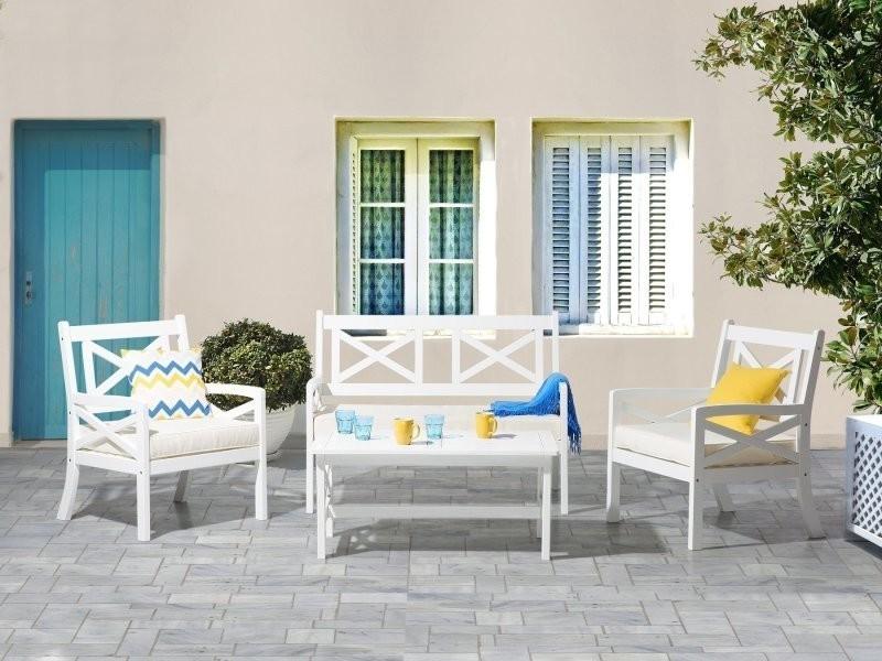 Salon de jardin en bois blanc et coussins beiges baltic 36982 ...