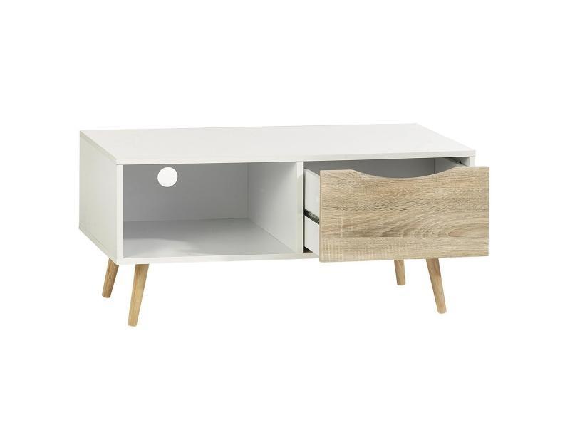 meuble tv tag res et tiroir mdf d cor blanc sono vente de meuble tv conforama. Black Bedroom Furniture Sets. Home Design Ideas
