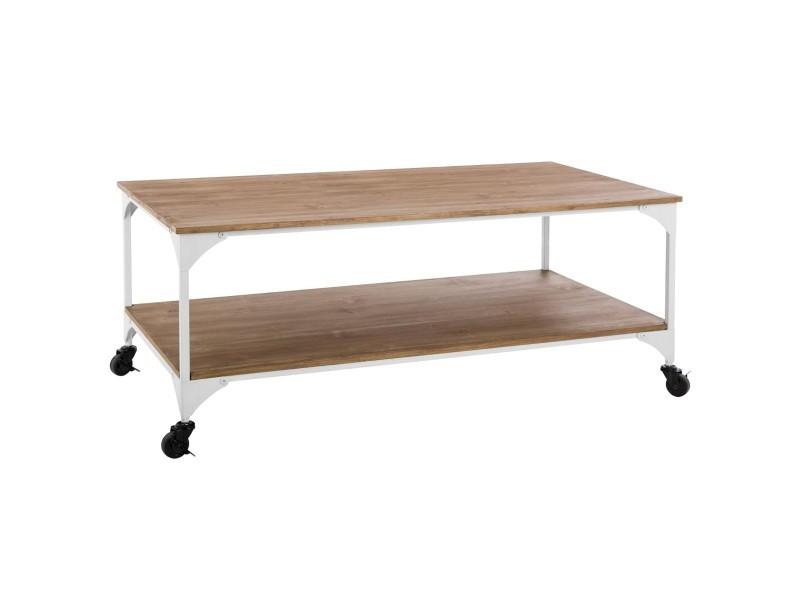 Table basse en métal coloris blanc - l. 110 x l. 60 x h. 45 cm -pegane-