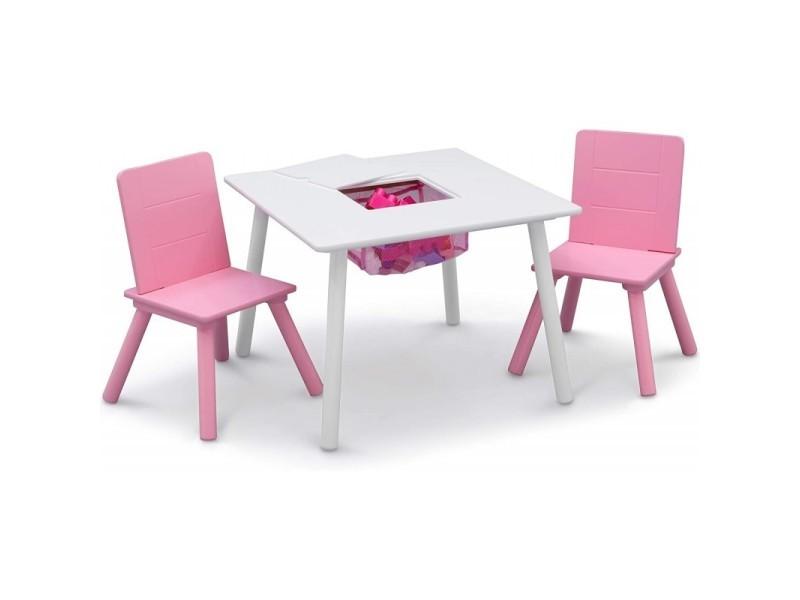 Table blanche avec rangement et deux chaises roses signature delta children
