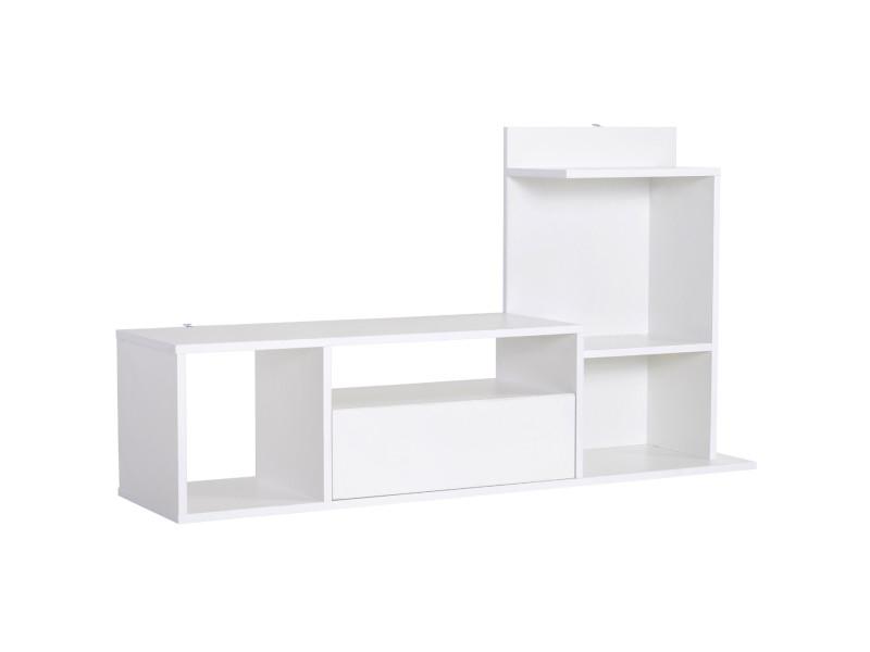 Meuble tv design contemporain multi-rangements grand plateau 3 niches 2 étagères tiroir mélaminé blanc mat