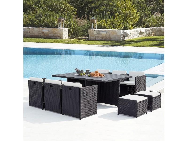 Le kaolino : salon de jardin encastrable 10 places en résine tressée et aluminium noir coussins blancs 222303
