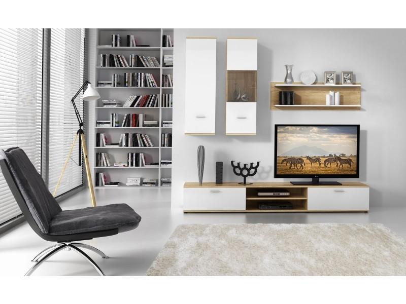 Ensemble meuble tv molina blanc et chêne clair