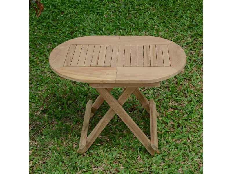 Table Basse Pliante Ovale En Teck Ecograde Maniz 60 X 40 Cm Teck