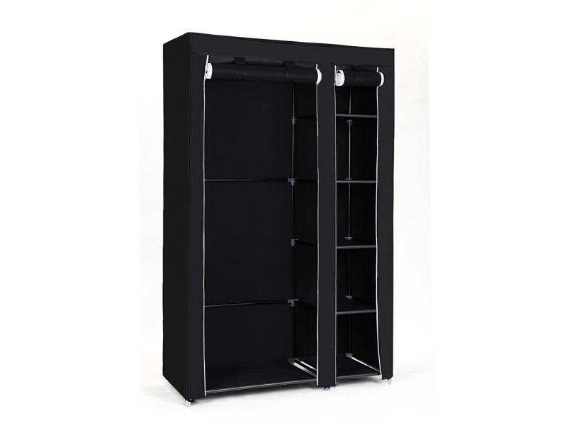 Armoire de rangement/penderie de vêtement pliable en toile couleurs noir xl 110 x 45 x 175 cm