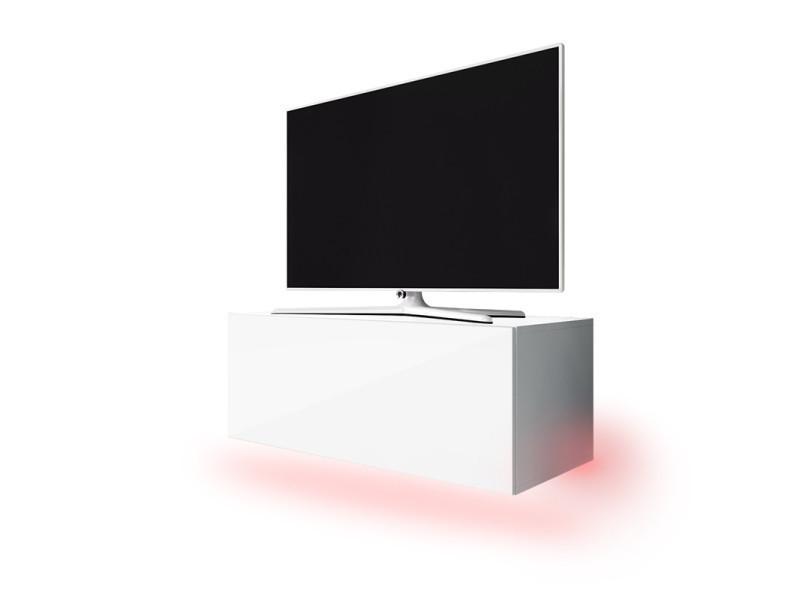 Meuble tv suspendu lana 100 cm blanc mat / front blanc brillant avec led rouge SELSEY FRANCE