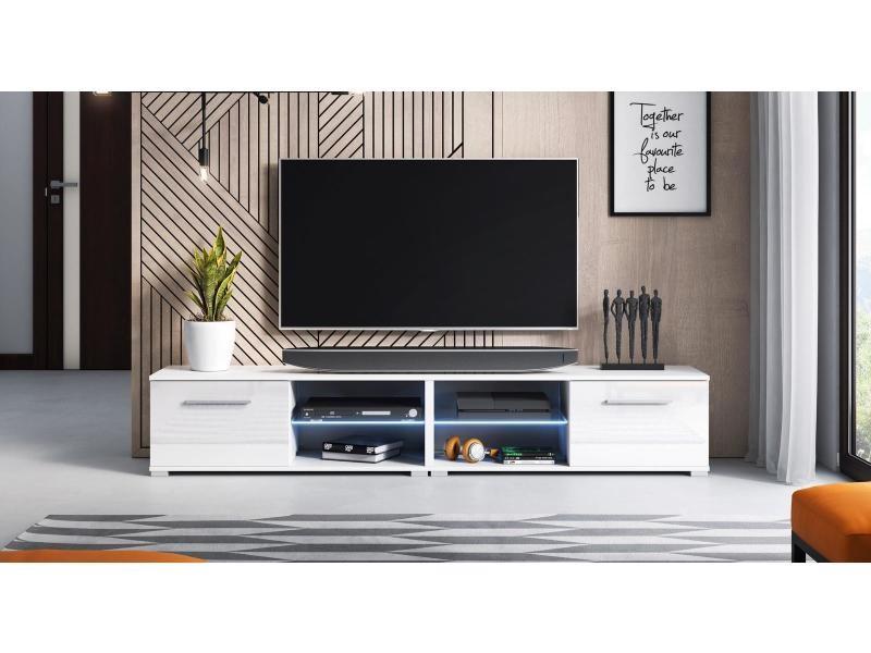 Meuble tv magnum (200 cm) couleur blanc et blanc brillant avec l'éclairage à la led