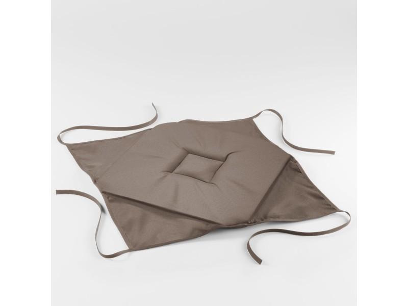 Coussin galette de chaise 36 x 36 x 3.5 cm taupe essentiel