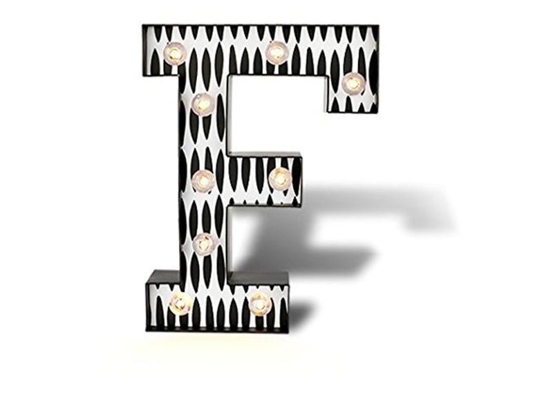 Lettre lumineuse f en papier coloris blanc, noir - dim : h 25.4 x l 19 x p 5.2 cm - pegane -