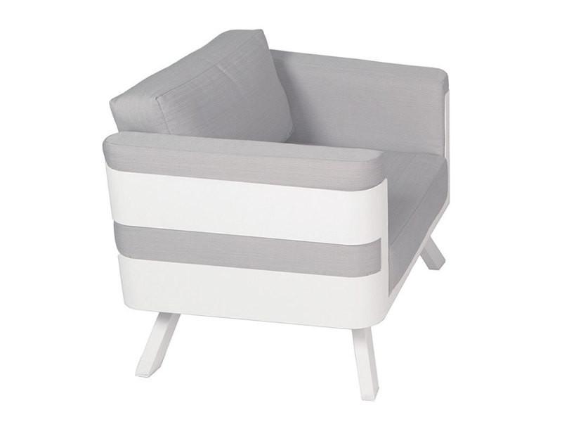 Salon de jardin en aluminium blanc coussins gris carrare - Vente de ...