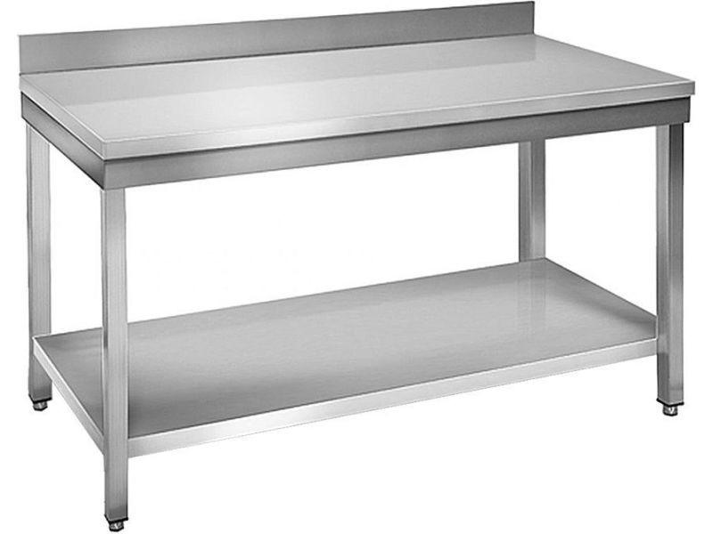 Table à plancha tout inox 2 plateaux 80 cm