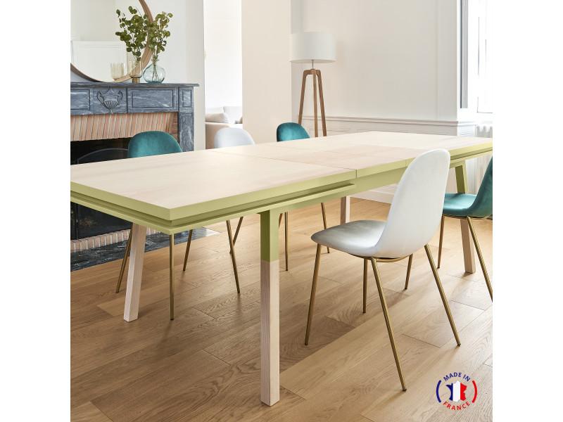 Table extensible bois massif 180x100 cm jaune lunaire - 100% fabrication française