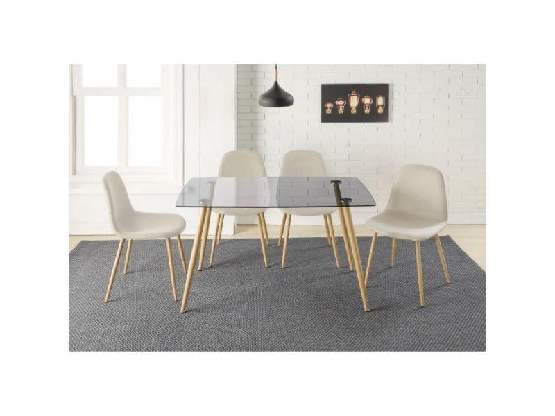 Table a manger avec chaises lorentz ensemble table a manger 4 a 6 personnes avec plateau verre trempé + 4 chaises tissu beige - contemporain - l 120 x l 70 cm