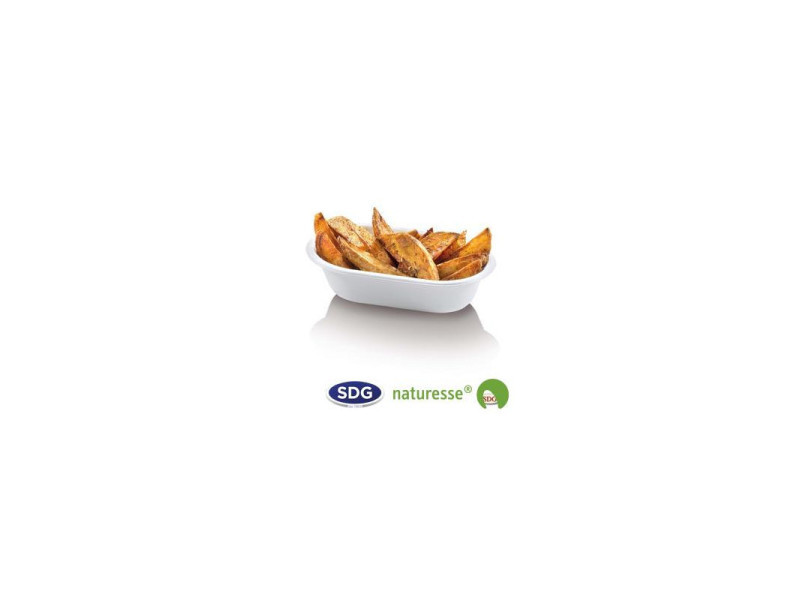 Barquette alimentaire pulpe de cellulose biodégradable 14,5x9 cm - sdg - lot de 500 - pulpe de cellulose